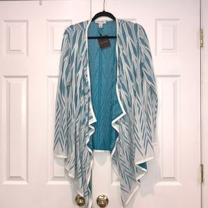St. John Collection White Blue Patterned Cardigan